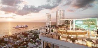 Sky Bar được thiết kế trên sân thượng khu căn hộ Aquamarine. Ảnh phối cảnh:Tập đoàn Danh Khôi. - WikiLand